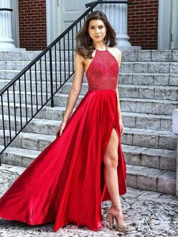 93f41fade64a Sexy Simple Design Backless Side Slit Red Long Custom Evening Prom Dre –  SposaDresses