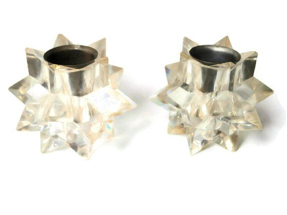 love them vintage candle  holders prismatic shape made in by VintageMessage, $17.00