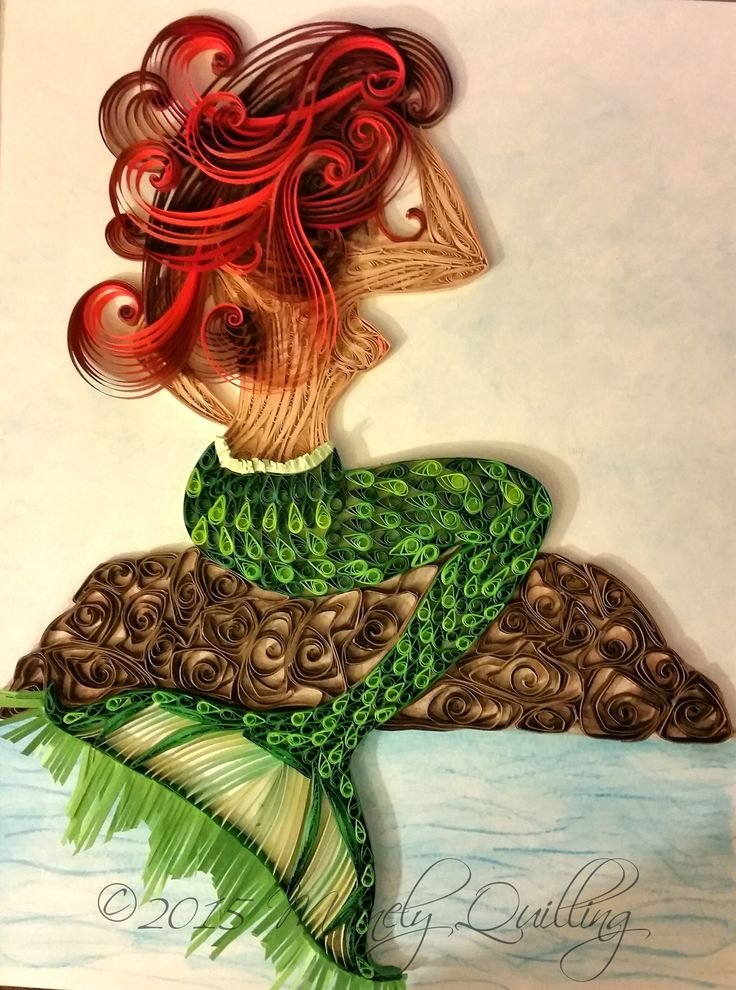 Quilled Mermaid by Mainely Quilling. Original mixed media artwork. 9x12. Watercolors and quilling.  #mermaid #quilling #siren #ariel