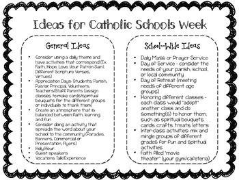 CATHOLIC SCHOOLS WEEK IDEAS -