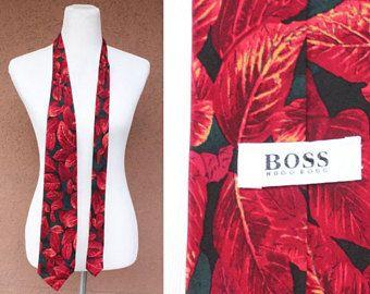 1990's Hugo Boss Redd leavers Motif Silk Tie