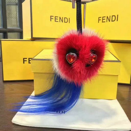 2017 Fendi Mini Bag Bug Valentine's Day Charm in multicolored fur