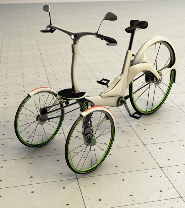 This electric assisted tricycle was designed to be a quick, reliable commuting alternative in the big city that will promotes a mentality of sustainability and eco-friendliness as well as a more active lifestyle. Though lightweight, it's packed with features you wouldn't expect like hydraulic disc brakes, adjustable motor assistance, and LED head/tail lights for added safety.    Designer: Dimitrios Niavis