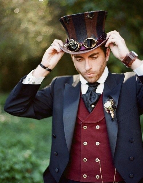 Steampunk Groom - for Steampunk wedding clothing inspiration. SteampunkFashionGuide: For Steampunk costume tutorials, fashion inspiration, fashion guide & a calendar of Steampunk events, visit SteampunkFashionGuide.com