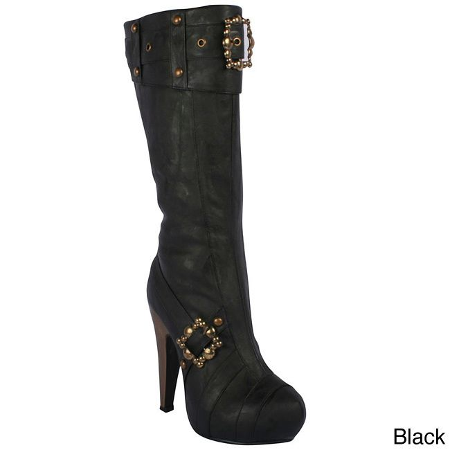 These knee-high boots from Ellie feature buckles and studs details that sport the on-trend steampunk style. Inside zippers offer convenient on/off dressing to these vegan leather boots.