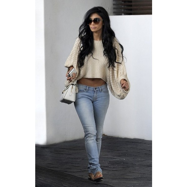 Oversized Knit Sweater, Skinny Jeans & Flip FlopsNicole Scherzinger Outfit, Casual Style, Fashion, Outfit Ideas, Clothing, Bad Bitch Outfit, Jeans, Fall Outfit, Hair