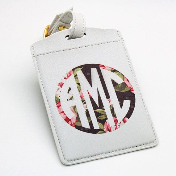 Monogrammed Personalised pu leather Luggage Tag by BeanBeanCase, $7.49