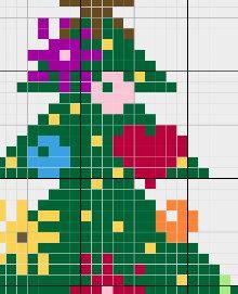 Coloured Joyfull Christmas Tree Cross by CamisTheCrossStitch