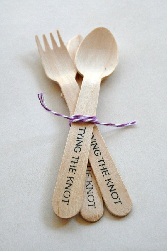 Disposable and Compostable Crafty Wooden Utensils Cutlery - Knife Fork Spoon - Eco - Wedding