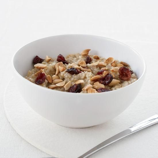 Overnight Oatmeal with Almonds and Dried Cranberries   Complex carbs, found in steel-cut oats and other whole grain foods, prompt the brain to make a steady supply of the feel-good chemical serotonin. Many people miss out on the nutty flavor and nubby texture of oatmeal made with steel-cut oats because they assume it's too time-consuming to prepare. But if you soak the oats overnight, they cook in just 10 minutes.