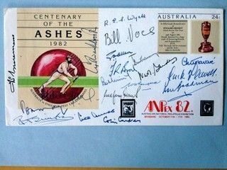 First day cover signed by 19 Australian and England Cricketers, signatures include Bradman, Ponsford, Flavell, May, Voce, Wyatt, Gubby Allen, Cowdrey, Amiss, Trueman, Washbrook etc