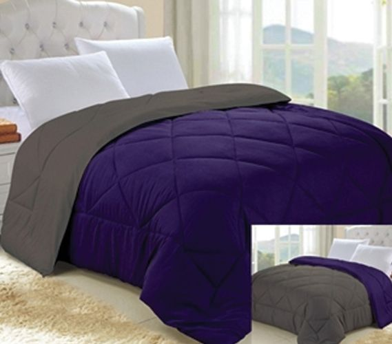 Downtown Purple/Granite Gray Reversible College Comforter - Twin XL