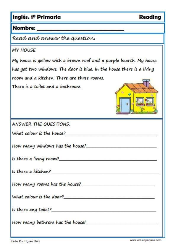 Ejercicios De Inglés Reading Y Writting Para Primero De Primaria Ejercicios De Ingles Ingles Para Principiantes Tarea De Ingles