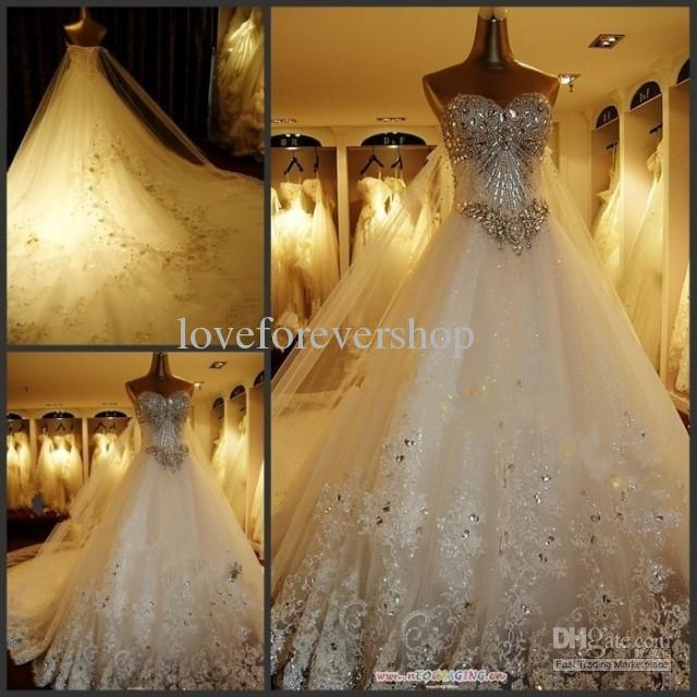 Wholesale Sweetheart Beaded Lace Crystals 1.5m Train 2012 Sexy Luxury Cathedral Wedding Dresses Bridal Gowns, Free shipping, $261.6-370.6/Piece | DHgate