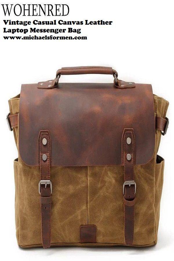 5843ed5ef1 Vintage Casual Canvas Leather Laptop Messenger Bag in 2019