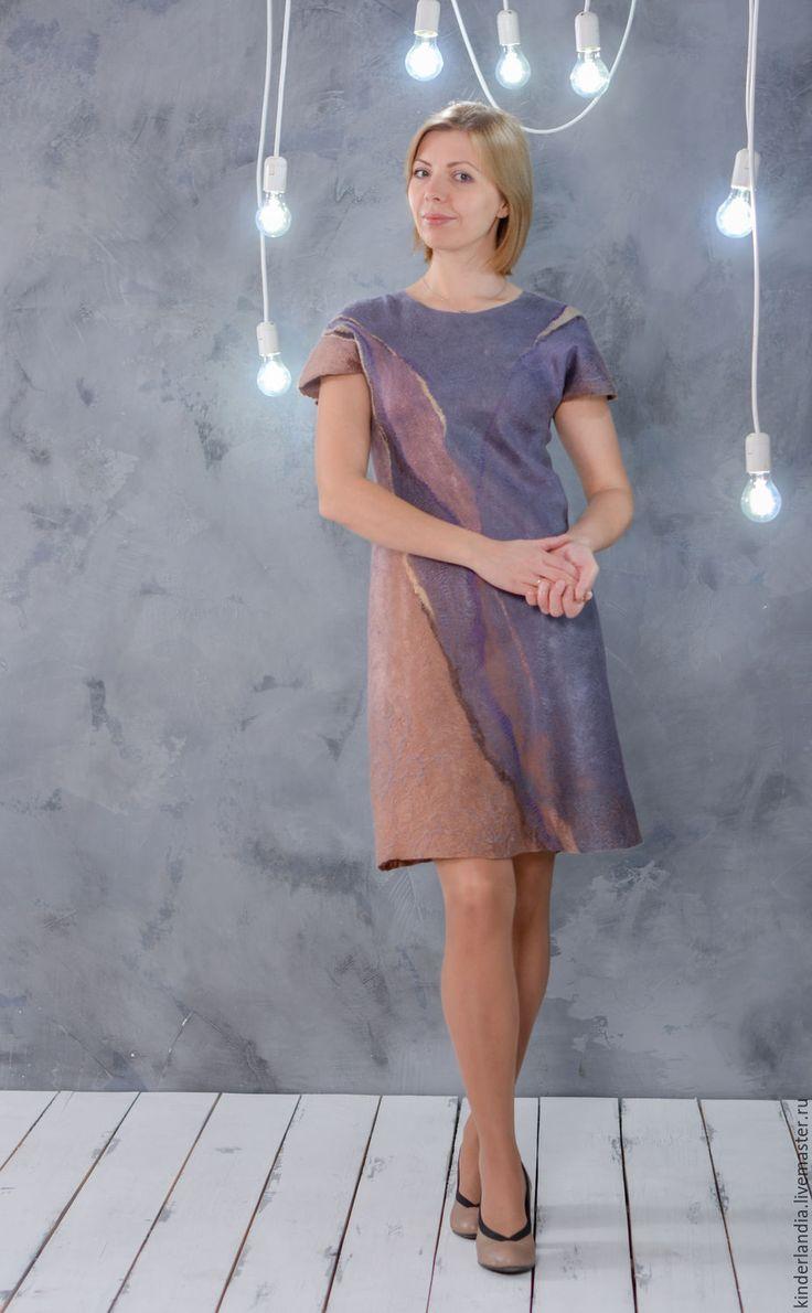 Купить Платье валяное Туман - сиреневый, туманы, платье туман, валяное платье, войлочное платье