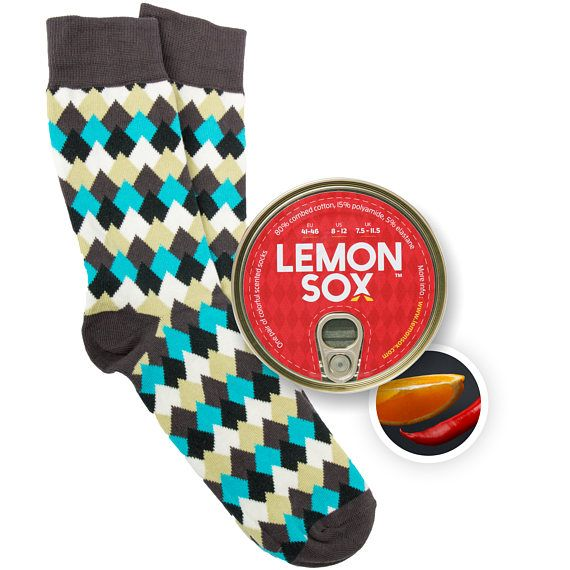 Bergtoppen / Chili-oranje | Geurende en ingeblikte sokken | mannen sokken | kleurrijke sokken | cool sokken | gek sokken | gedessineerde casual sokken