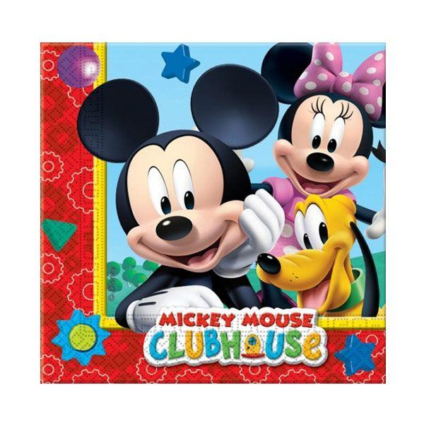 Doğum Günü Kağıt Peçete Paket içerisinde doğum günü parti temanızı tamamlayacak Mickey mouse konseptine uygun kullan at özellikli 33 cm x 33 cm ebatlarında 20 adet çift katlı temalı kağıt peçete bulunmaktadır.