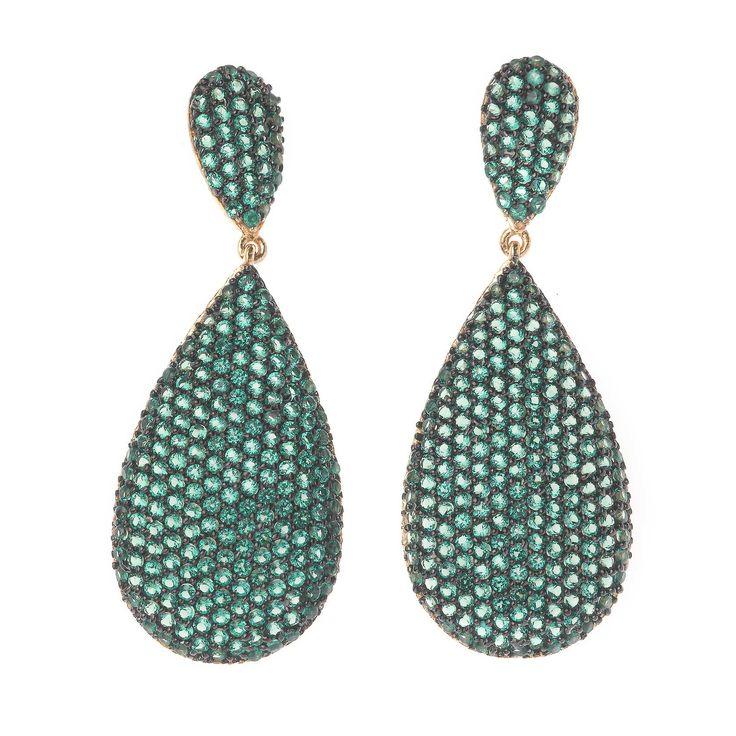 Pendientes verde o naranja en plata de ley con circonitas de alta calidad.  Ver más coleccion en www.salvatore.es