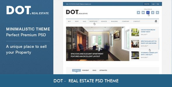 DOT. Real Estate | PSD Template building, calculator, clean, investments, light, listing, mortgage, property, psd the, real estate, realestate, rentals, DOT. Real Estate | PSD Template Jim Pellerin