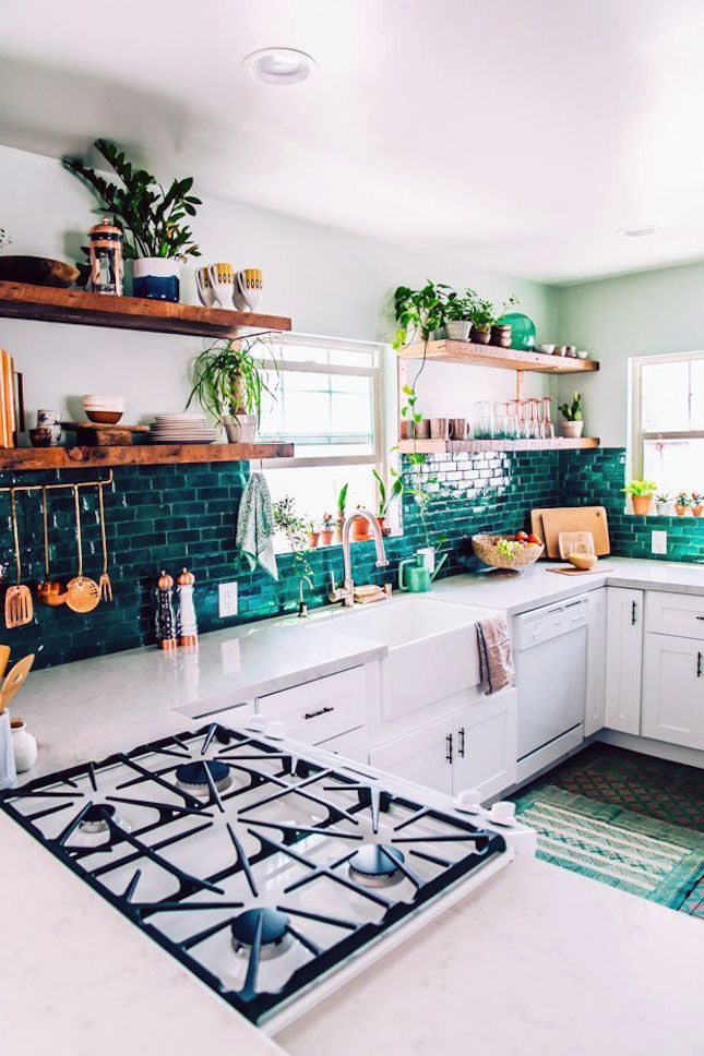 30 Beautiful Scandinavian Kitchen Ideas With Green Accent You Must Have In 2020 Bohemian Kitchen Decor Interior Design Kitchen Kitchen Tiles Design