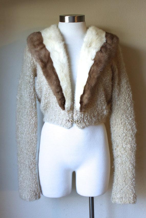 Vintage 1960s Mink Fur Collar Sweater by VintageRosemond on Etsy, $125.00