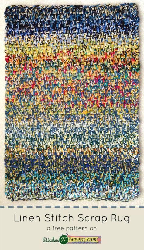 Linen Stitch Scrap Rug - A free crochet pattern on StitchesNScraps.com