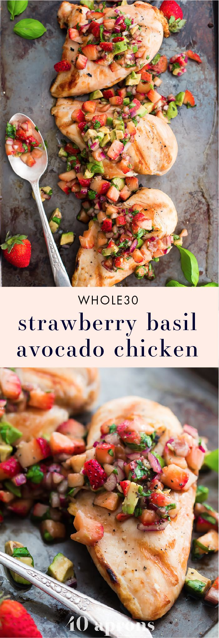 This Whole30 strawberry basil chicken with avocado is the ideal Whole30 grilled chicken recipe: quick, flavorful, and a little sweet! The perfect Whole30 dinner for those nights when you can't stand yet another savory recipe.