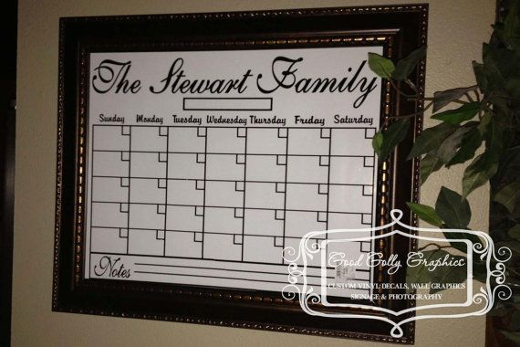 Dry erase calendar grid vinyl decal to fit an by GoodGollyGraphics, $25.00