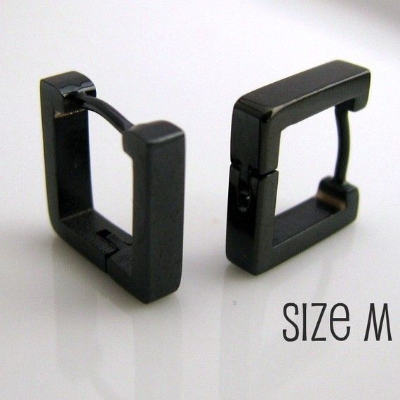 Men's Earrings Black Hoop Square Earrings for Men - For hubby