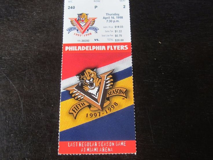 FLORIDA PANTHERS VS Philadelphia Flyers 4/16/1998 Finale home game @ Miami Arena #ticket