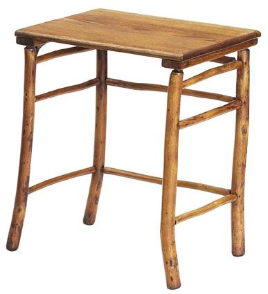 Old Hickory Table, Rectangular Oak Top Over A Rustic Base, Refinished,  Branded Signature