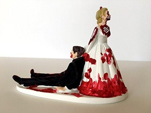 Love Never Dies Funny Zombie Wedding Cake Topper - Zombie Bride Dragging Groom Away