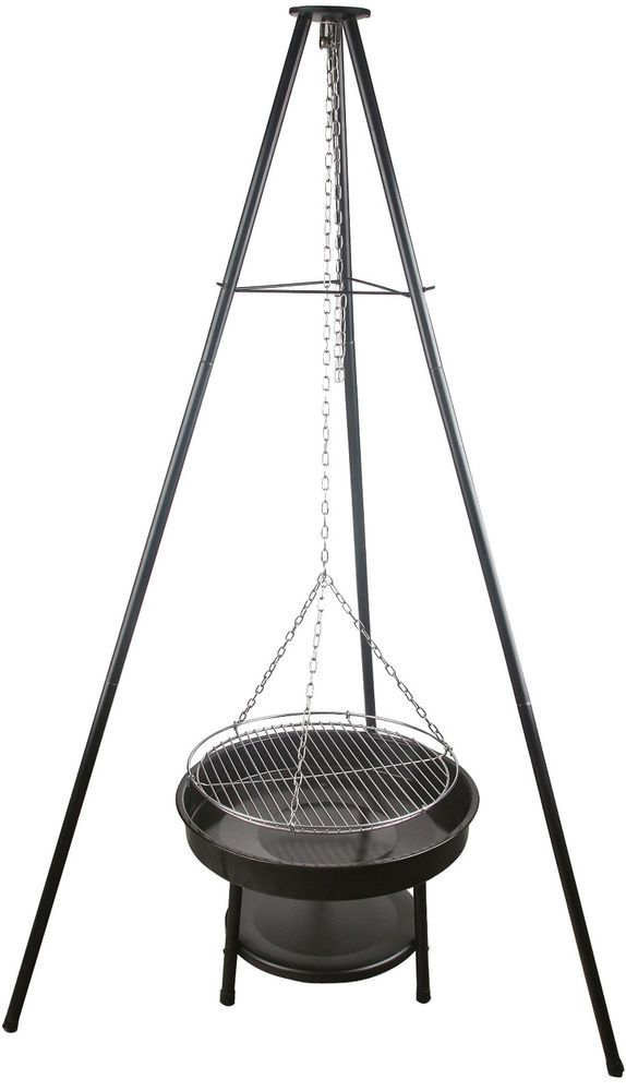 Tripod Hanging Coal BBQ Barbecue Adjustable Heights for Grilling On Fire Pit