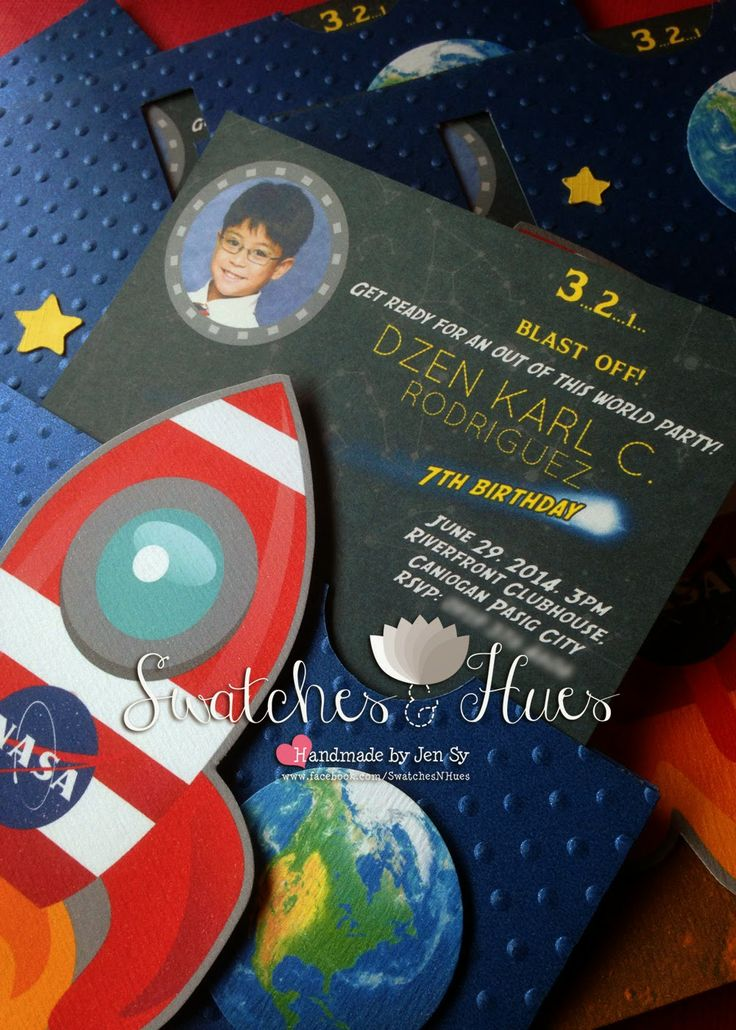 Outer space themed slider invitation handmade for Space themed stationery