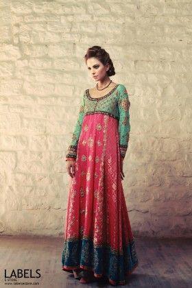 Tena Durrani | Buy Fuchsia Gold Silk Net | LABELS e-Store