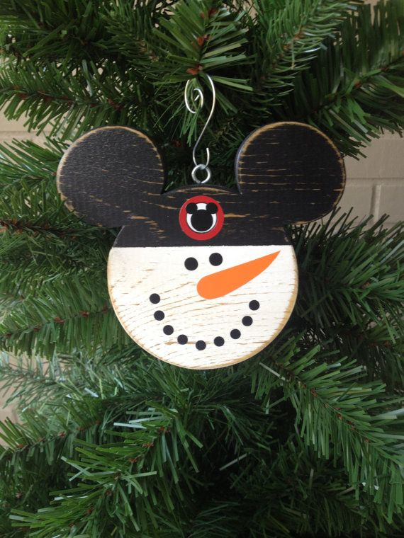 "Mickey Mouse Snowman Christmas Disney Wood Ornament  Disney Mouseketeer Distressed Hand Painted Disney Fish Extender ""Ready To Ship""-As Is"