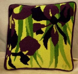 IRIS PURPLE, GREEN, YELLOW SIGNED 1958 NEEDLE POINT PILLOW