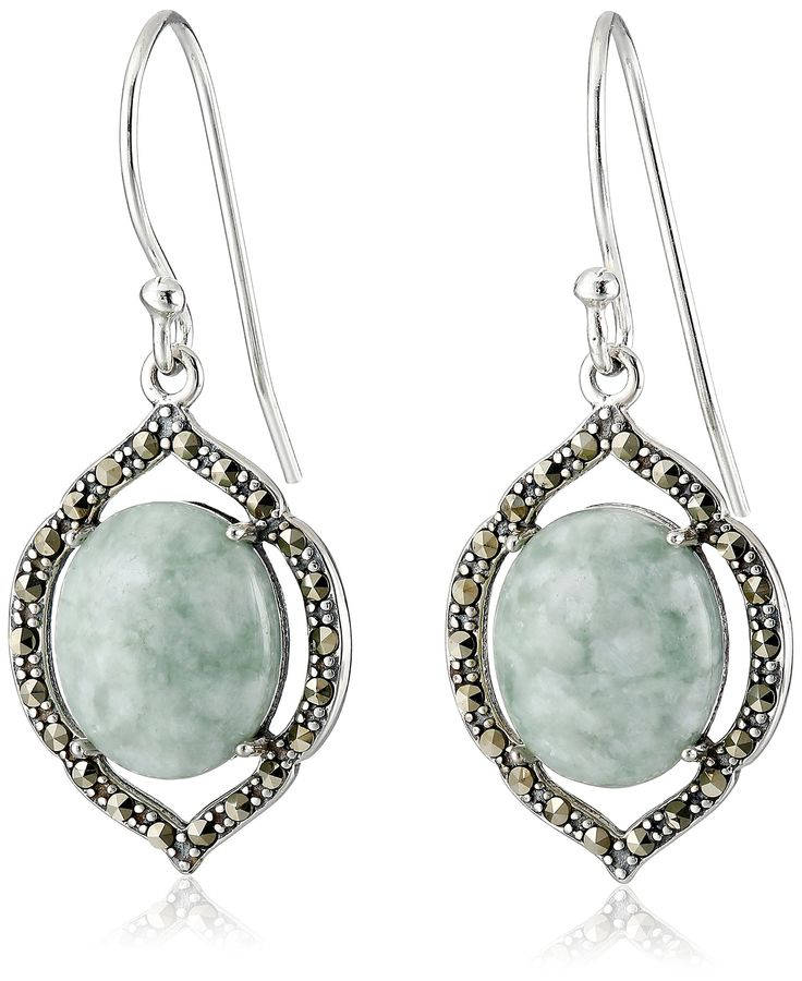 Sterling Silver Marcasite Green Jade Oval Wire Dangle Earrings: