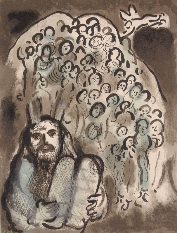 Marc Chagall, La storia dell'Esodo: l'alleanza di Mosè e degli anziani, 1966.