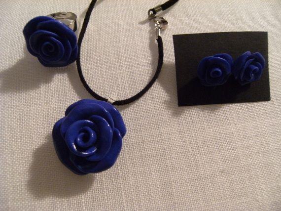 rosa azul, Bisutería, Anillos