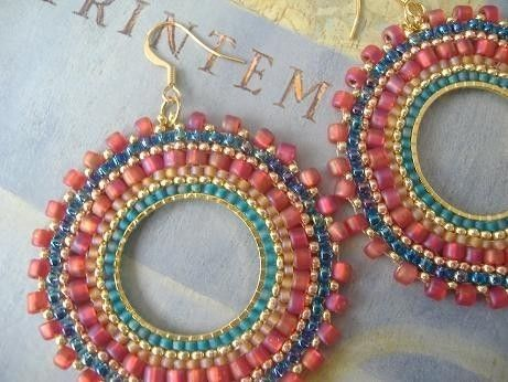 Hoop Earrings - Aqua Berries Multicolored Seed Bead Earrings