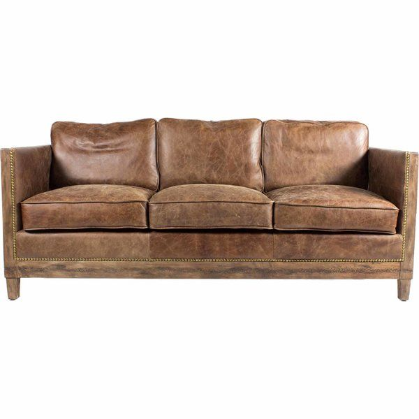 Sherly Genuine Leather 72 Square Arm Sofa Distressed Leather