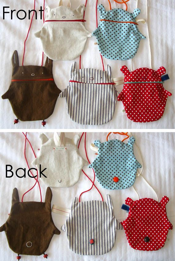 Kids want to carry around a bag to take food and their favorite toy everywhere? make them a bear bag!