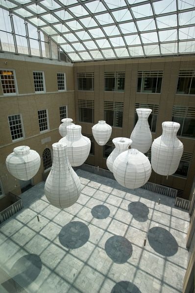 "Kendall Buster, Artist, Vessel Field, 2010, ""forms are constructed out of industrially powder-coated steel hollow tube covered in a white semi-transparent shadecloth"" ~ narrative from website, Photo courtesy homewoodphoto.jhu.edu"