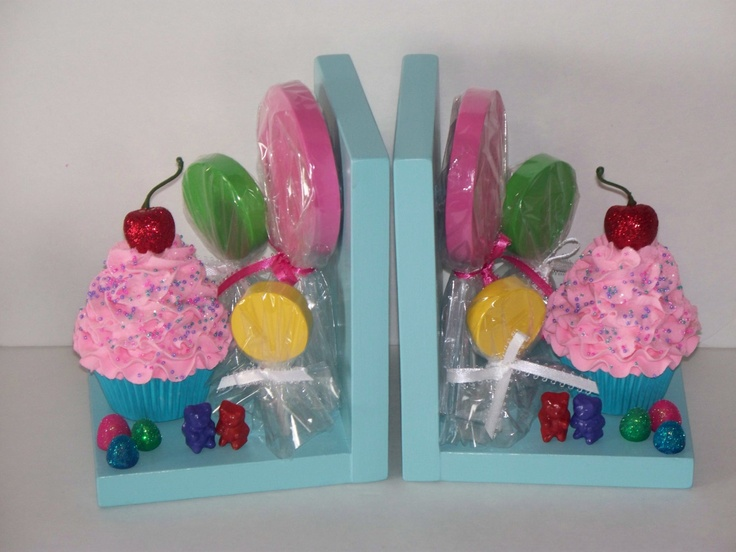 CandyLand Inspired Bookends with Fake Cupcakes, Lollipops, Gumdrops, and Gummy Bears, Little Girls Candy Land Room Decor, Photo Props. $55.00, via Etsy.