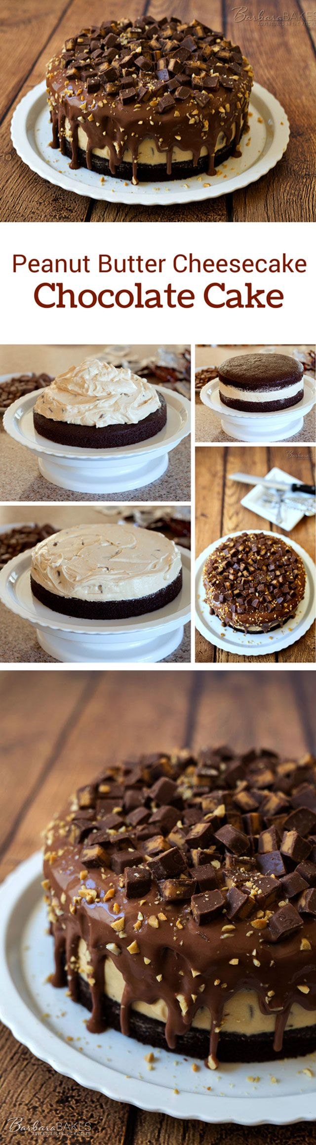 A rich, fudgy chocolate layer cake with a no-bake peanut butter cheesecake filling via @barbarabakes