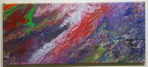 Pouring Acrylbild 25x58cm Benutzte Farben Blau Rot Lila