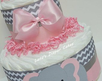 3 Tier Pink & Gray Elephant Diaper Cake by LanasDiaperCakeShop