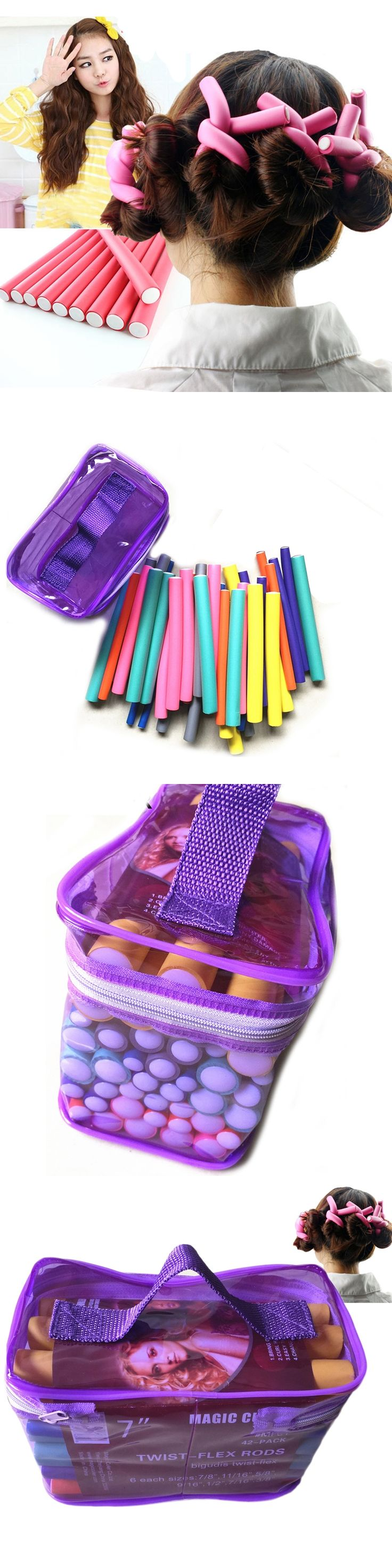 At Fashion bendy rollers flexi rods 42pcs/set 7 Styles DIY Hair curling rods Magic Hair Roller Soft flex rods for Hair
